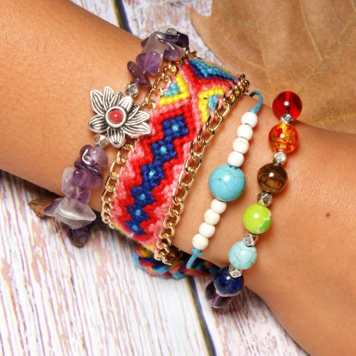 7 Chakra best-selling bracelet amethyst lotus bracelet set boho woven friendship bracelet XH-261