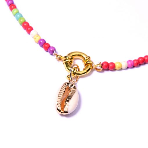 Popular roulette natural shell bohemian necklace turquoise colorful necklace mixed batch XH-215