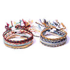 Summer hot bohemian style cotton thread woven bracelet beach friendship hand rope mixed batch XH-255