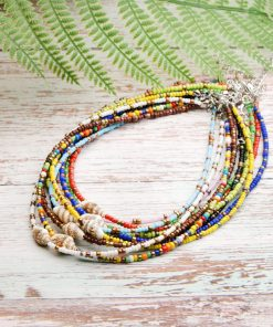 New batch of 3mm rice bead shell handmade beaded neck short necklace mixed batch XH-225