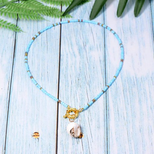 Summer hot hand-made beaded shell pendant new clavicle chain accessories wholesale  Mixed batch XH-233