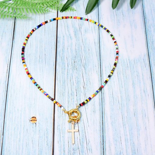 Summer hot hand-made beaded cross pendant new clavicle chain accessories wholesale  Mixed batch XH-234
