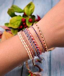 Summer hot bohemian style cotton braided bracelet beach friendship hand rope plus metal beads mixed batch XH-256