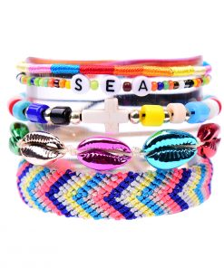 Cross Alphabet Shell Weave Friendship Bracelet Bracelet Set XH-268