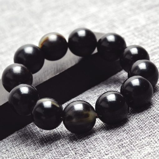 Authentic natural black horn health bracelet with clear lines and good oily GLGJ-211
