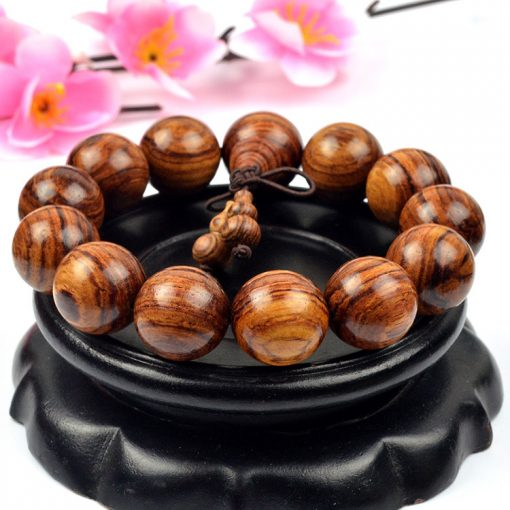 Authentic boutique sandalwood big leaf yellow flower pear bracelet with clear lines and good oiliness GLGJ-210