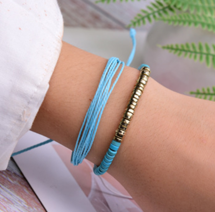 Popular Imitation Turquoise Hand Woven Friendship Hand Strap Set Accessories XH-259