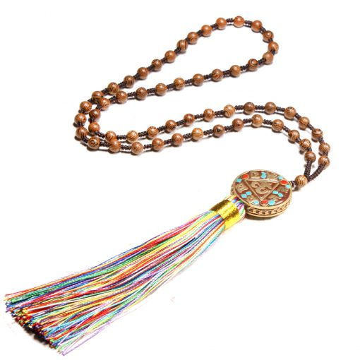 Europe and the United States selling wooden beads knotted hand-beaded Nepal religious tassel long accessories necklace XH-220