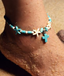 Best-selling woman's fashion starfish turquoise cross pendant retro anklet bracelet XH-237