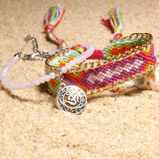 European and American best-selling om pendant retro ethnic style woven ladies suit anklet XH-238