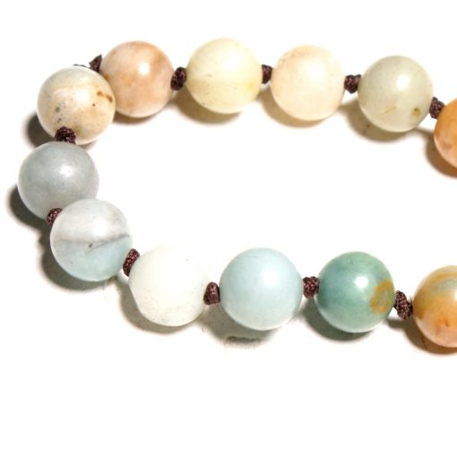 8mm Natural Amazon Stone Ethnic Wind Hand-knotted Long Necklace Wholesale XH-226