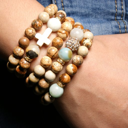 Religious wind cross multi-layer natural Amazon stone picture stone handmade beaded men and women bracelet XH-270