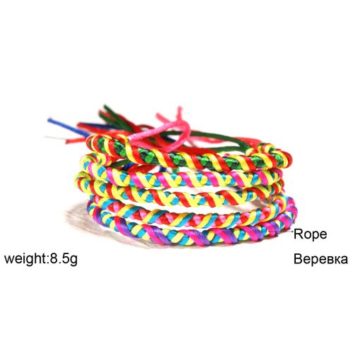 Hand-woven summer best-selling bohemian ethnic wind rainbow lucky bracelet wholesale 5pcs / bag XH-265