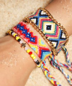 Crystal Cross Braided Bracelet Europe and America Selling Bohemian Hand-knitted Rainbow Bracelet Friendship Bracelet Set XH-251
