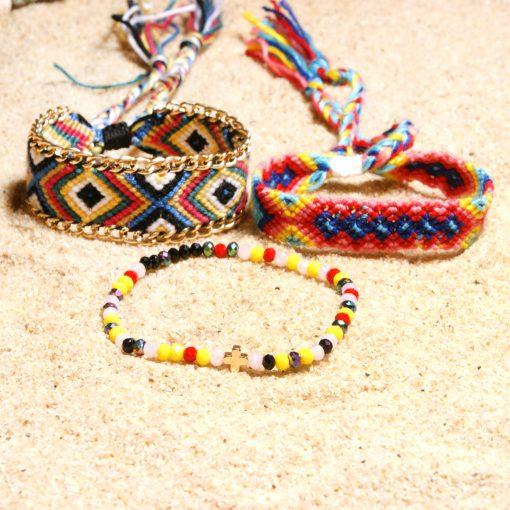 Crystal Cross Braided Bracelet Europe and America Selling Bohemian Hand-knitted Rainbow Bracelet Friendship Bracelet Set XH-251