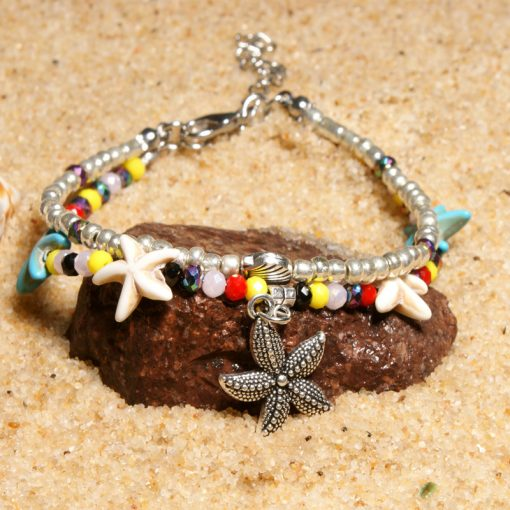 Summer hot sale crystal starfish beach turtle pendant ladies retro anklet XH-240