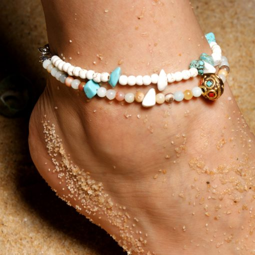 Selling 4mm Amazon Stone Nepal Beads National Wind Anklet Factory Direct Sales XH-239