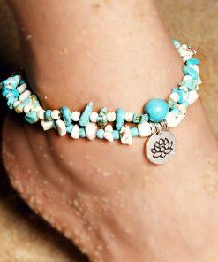 Beach Yoga Lotus Pendant Turquoise Anklet Bracelet XH-245