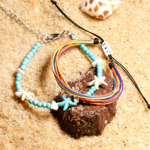 Best selling cotton thread braided starfish anklet 4mm synthetic turquoise beaded beach ladies bracelet anklet mixed batchXH-236