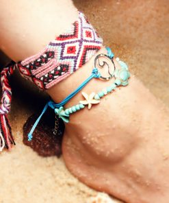 Best-selling summer beach ladies retro turtle sea wave starfish widened anklet bracelet set XH-243