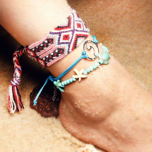 Best-selling summer beach ladies retro turtle sea wave starfish widened anklet bracelet set XH-243