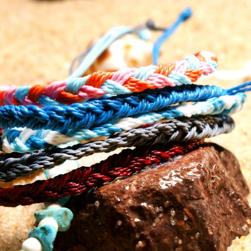 Summer best-selling cotton thread woven turquoise gravel beaded ladies beach anklet XH-241