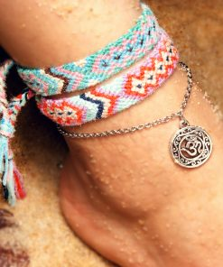 Bestselling Bohemian hand-woven ladies beach yoga anklet bracelet OM tag set XH-231
