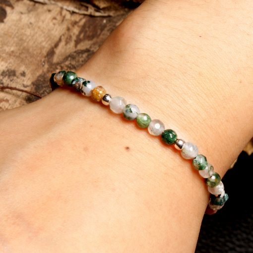 4mm Natural Indian Agate Woven Simple Bracelet Popular Lucky Bracelet Popular Jewelry Wholesale XH-263