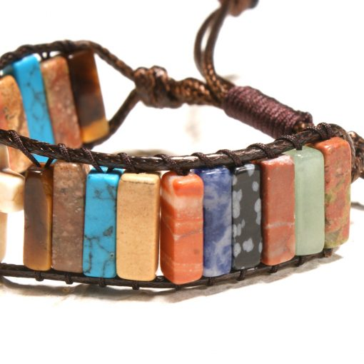 European and American popular colorful natural stone beaded cross bracelet creative woven leather bracelet XH-248