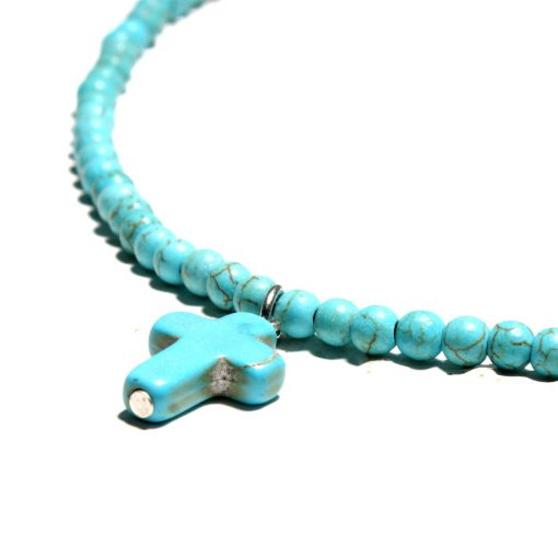 Women's Cross Pendant Short Clavicle Small Turquoise Summer Necklace Jewelry Wholesale XH-224
