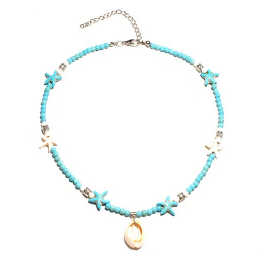 Summer hot sale starfish shell pendant short clavicle chain boho style necklace jewelry wholesale XH-232