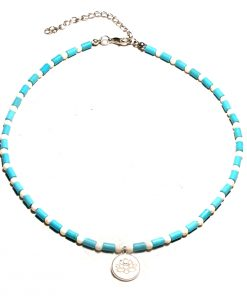 European and American summer hot sale ladies yoga lotus pendant short clavicle small turquoise necklace jewelry wholesale XH-230