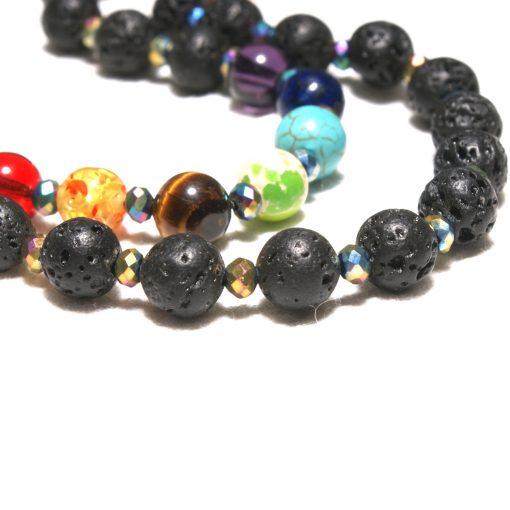 8mm European and American popular volcanic rock yoga energy 7chakra tassel sweater chain bracelet set XH-217