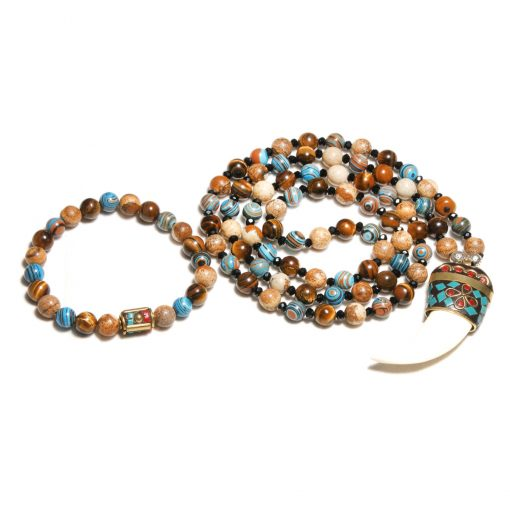 European and American popular bohemian ethnic style natural stone crystal long necklace + bracelet set XH-218