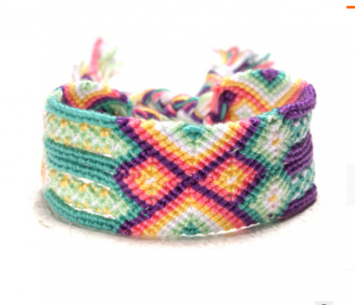Europe and America best selling bohemian ethnic style hand-woven rainbow lucky friendship bracelet XH-253