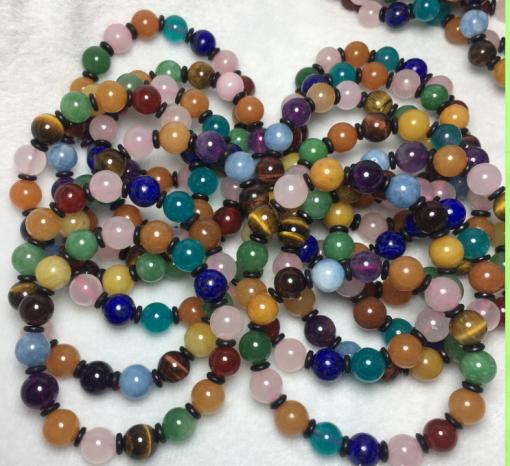 Natural Multi-Treasure Single Circle Bracelet Crystal Agate Tiger's Eye Amazon Blue tendon…Men's and women's bracelet wholesale MY-009