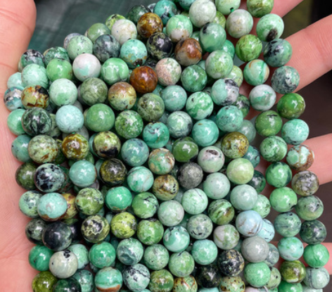 Natural phosphate aluminum ore loose beads green phosphate lithium round beads diy jewelry accessories semi-finished beads wholesale