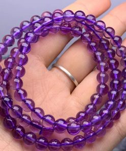 Natural Amethyst Three Circles Round Bead Bracelet Necklace Crystal Transparent Color Beautiful Clean Good Quality NBC-005