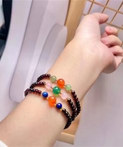 Factory direct supply natural garnet 3 circles multi-jewel bracelet beautiful color NBC-003